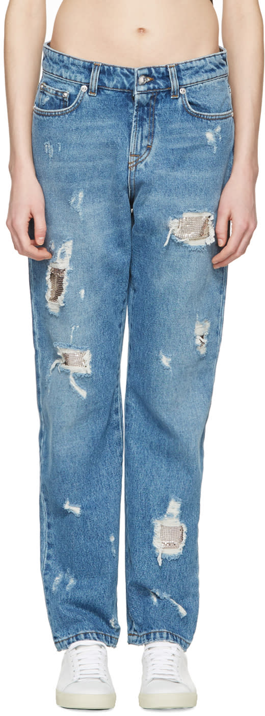 Versus Blue Distressed Boyfriend Jeans