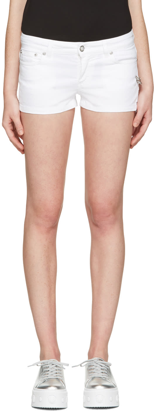 Versus White Denim Double Pin Shorts