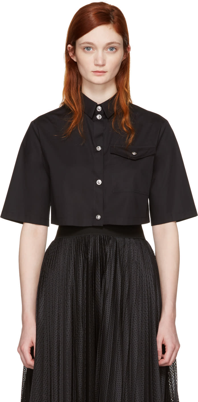 Versus Black Cropped Poplin Shirt