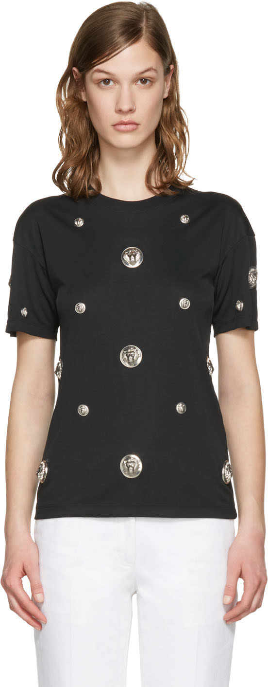 Versus Black Lion Medallion T-shirt