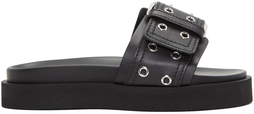 Versus Black Belt Buckle Sandals