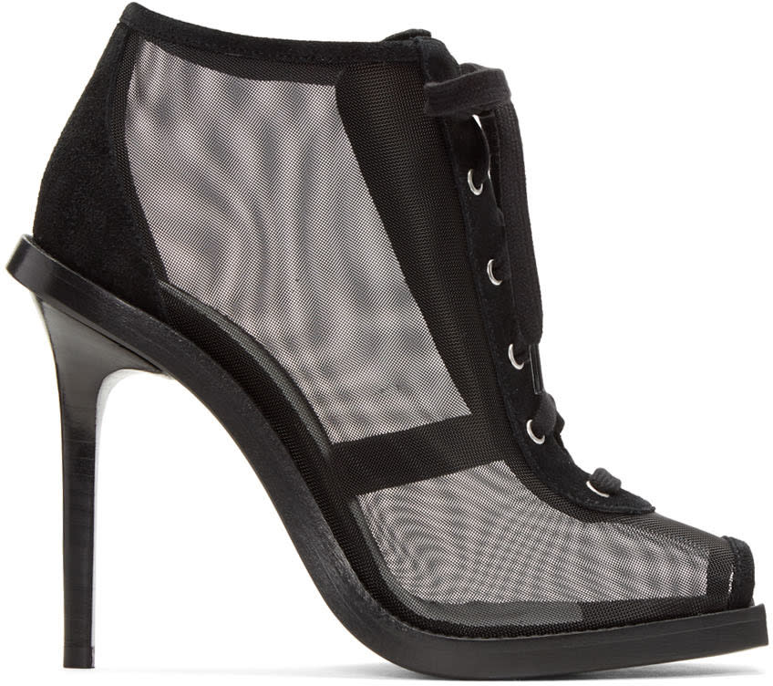 Versus Black Mesh and Suede Lace-up Boots