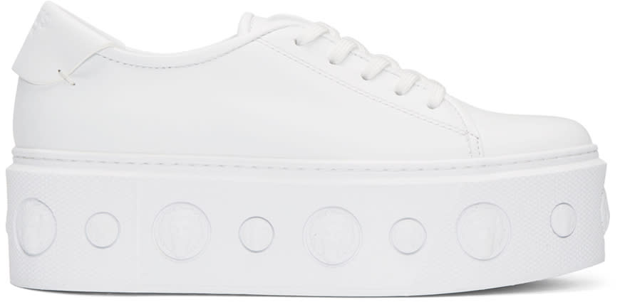 Versus White Lion Platform Sneakers