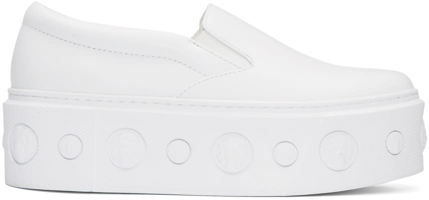 Versus White Lion Slip-on Platform Sneakers