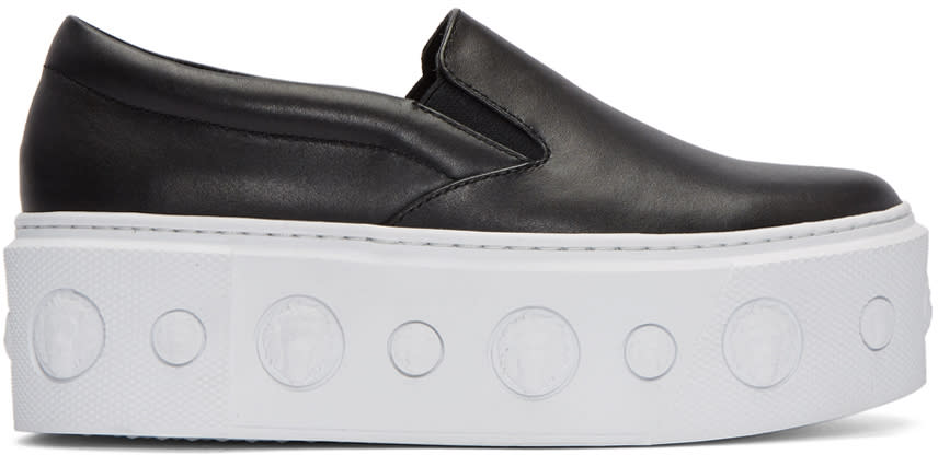 Versus Black Lion Slip-on Platform Sneakers