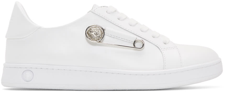 Versus White Safety Pin Sneakers