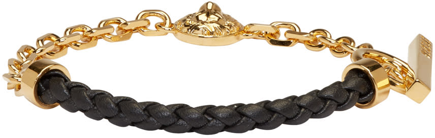 Versus Gold and Black Half Braided Lion Bracelet
