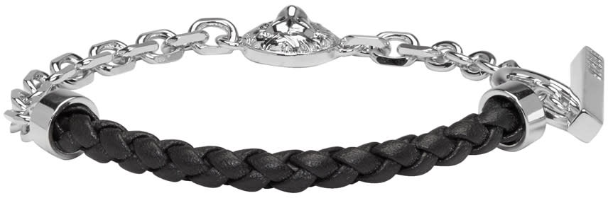 Versus Silver and Black Half Braided Lion Bracelet