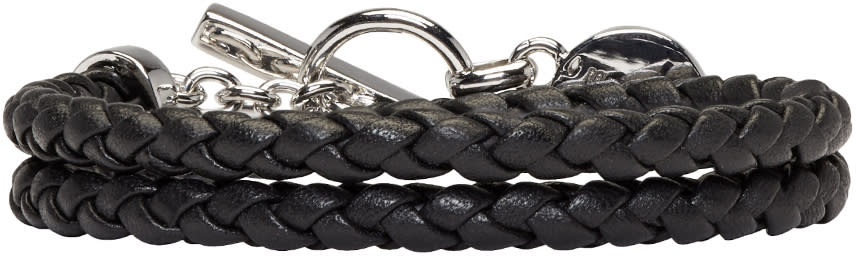 Versus Black Braided Bracelet
