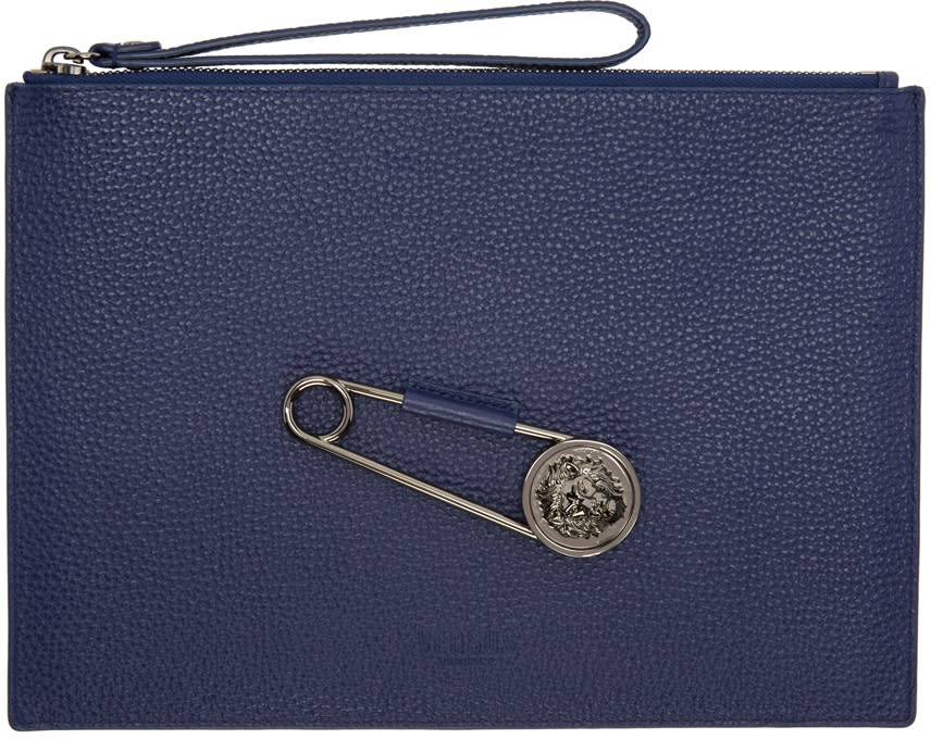 Versus Blue Pin Zip Pouch