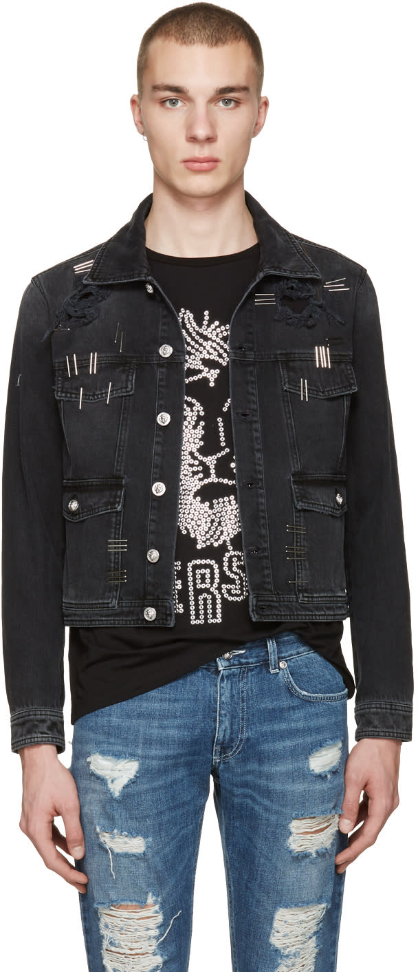 Versus Black Denim Staples Jacket