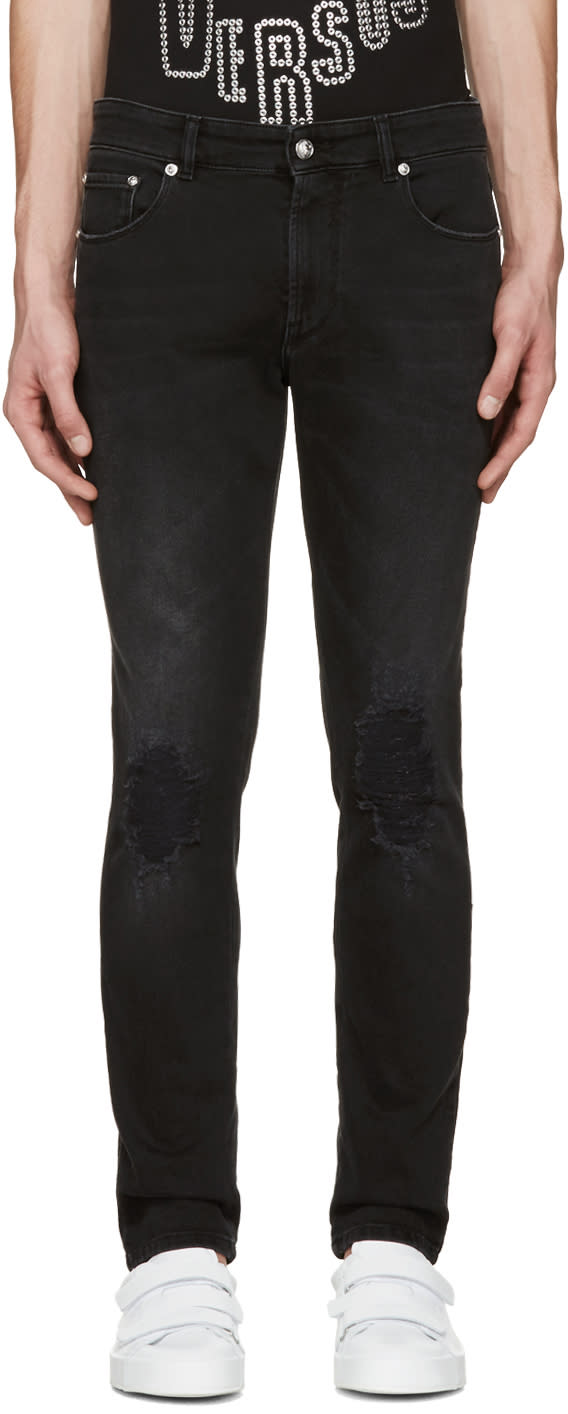 Versus Black Ripped Knee Jeans