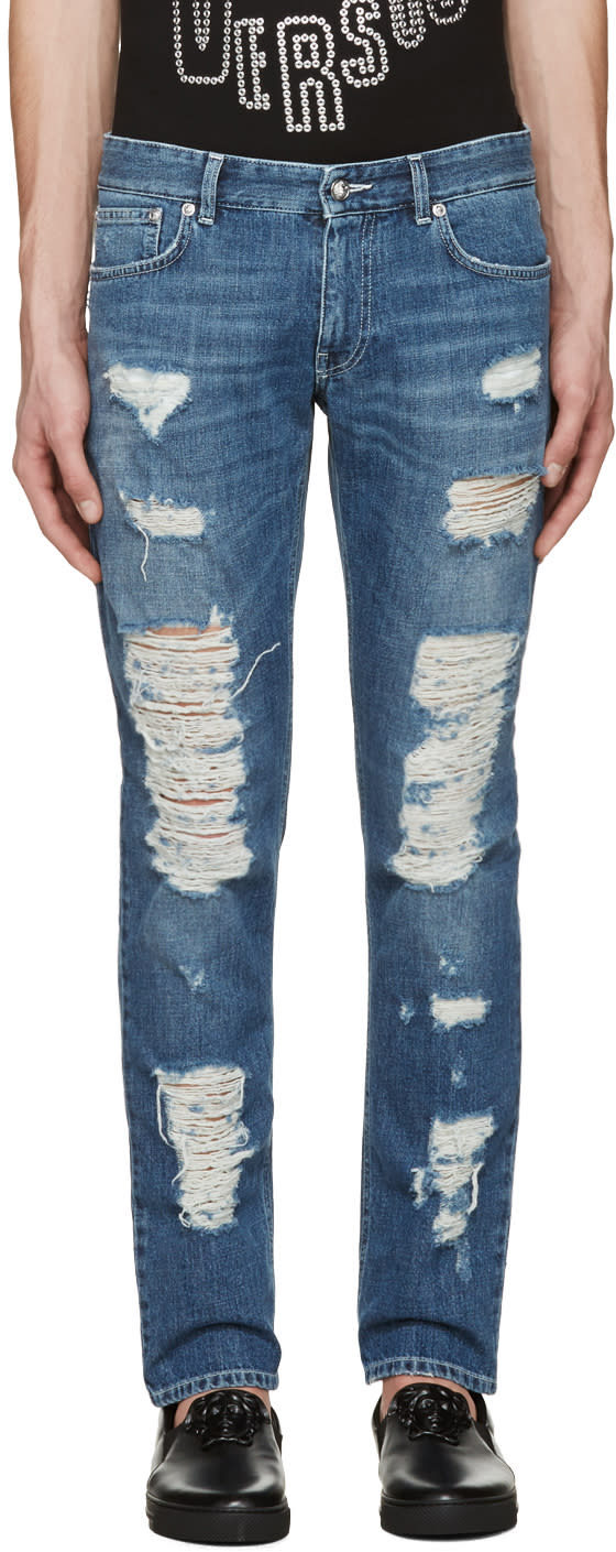 Versus Blue Destroyed Jeans