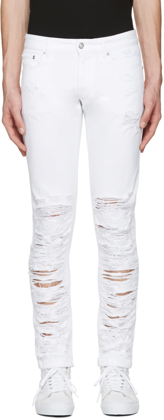 Versus White Half Destroyed Jeans