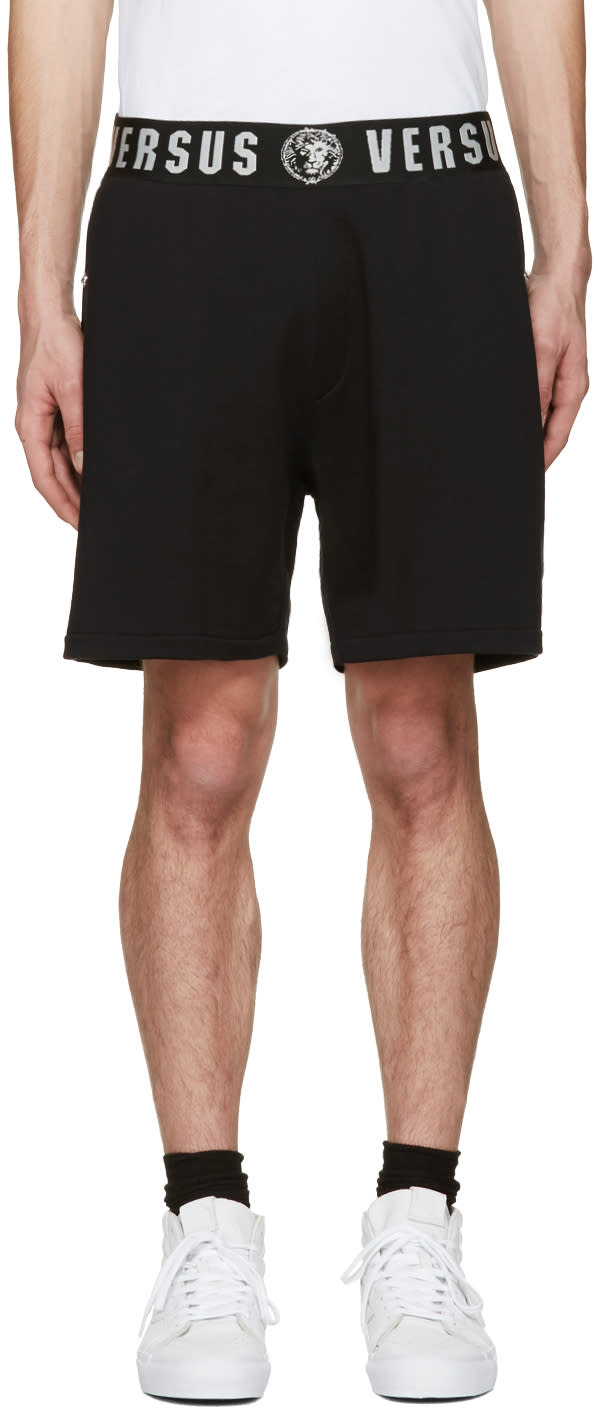 Versus Black Logo Waistband Shorts