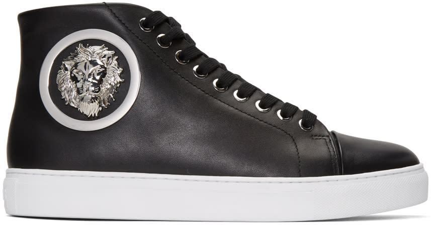 Versus Black Lion Medallion Mid-top Sneakers