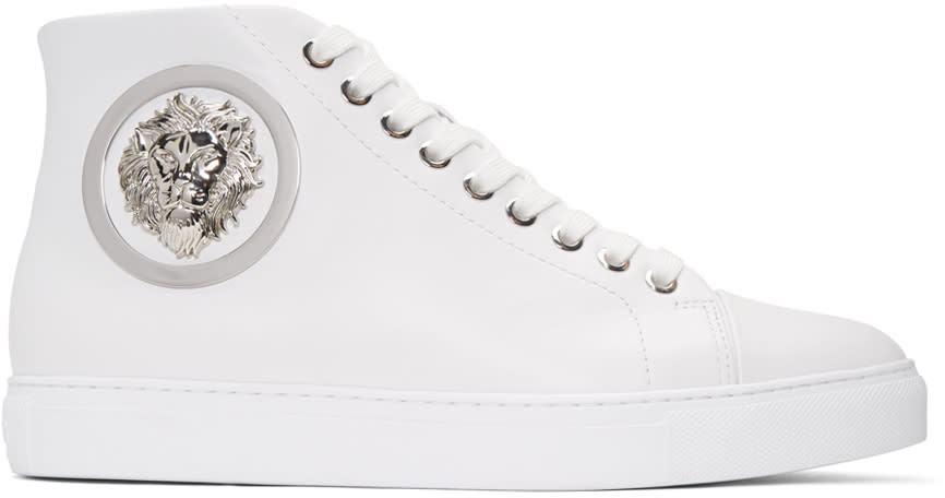 Versus White Lion Medallion Mid-top Sneakers