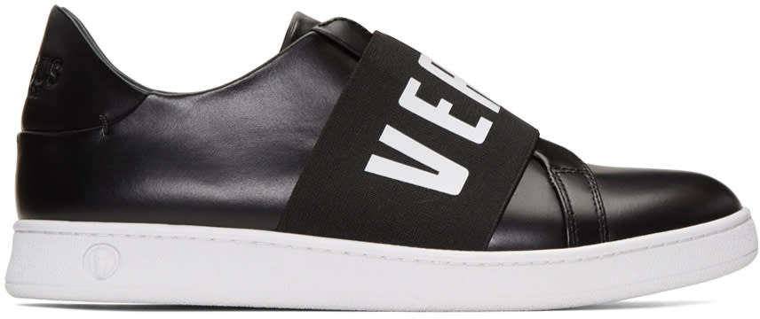 Versus Black Logo Band Slip-on Sneakers