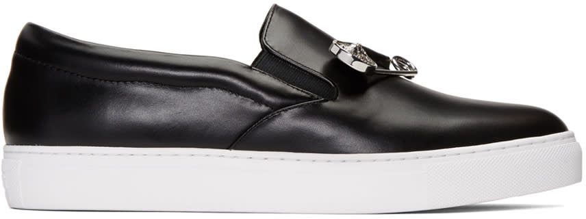 Versus Black Safety Pin Slip-on Sneakers