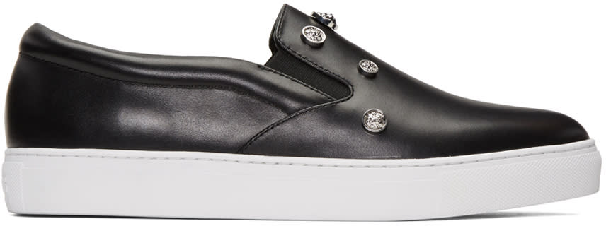 Versus Black Studded Lion Slip-on Sneakers