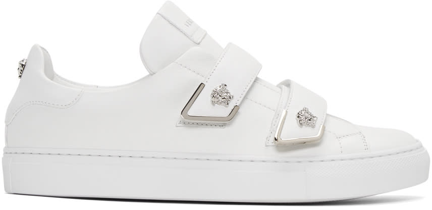 Versace White Double Strap Medusa Sneakers