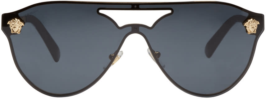 Versace Black Pilot Aviator Sunglasses