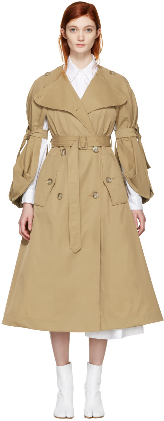 Simone Rocha Tan Tie Sleeves Coat