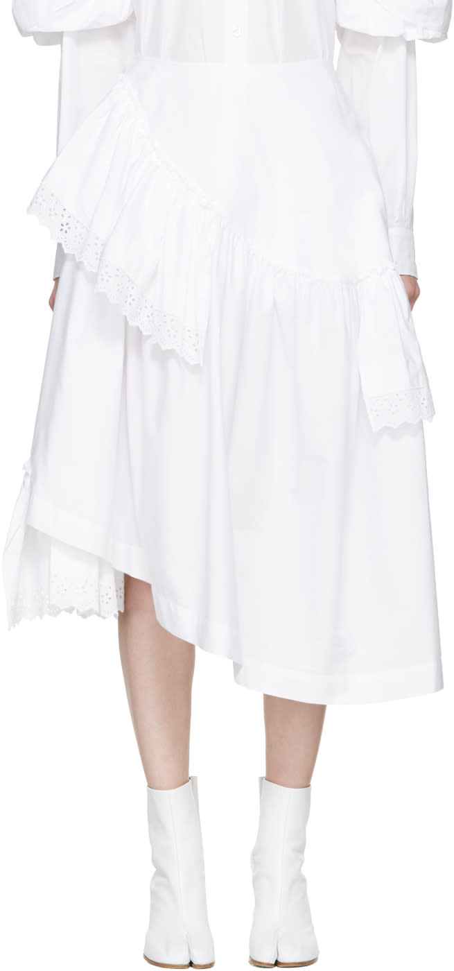 Simone Rocha White Poplin and Broderie Anglaise Tiered Skirt