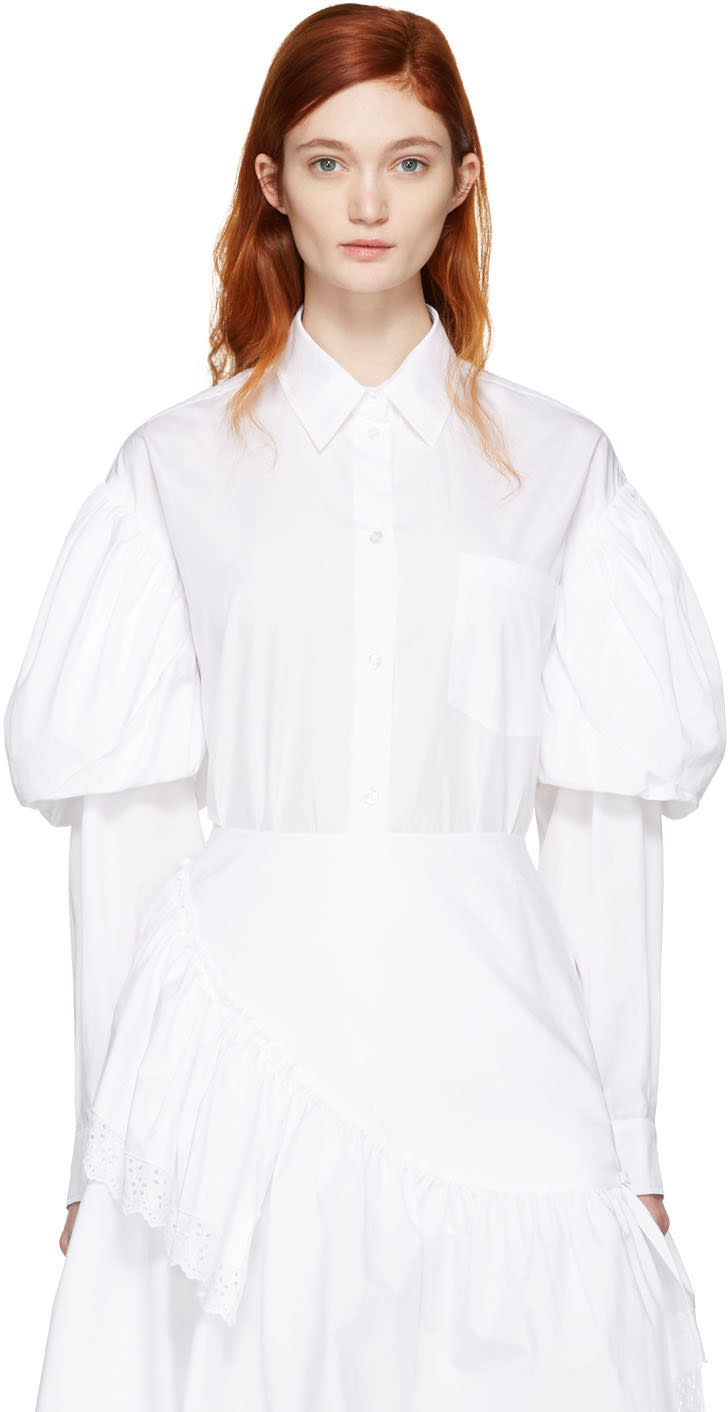 Simone Rocha White Puff Sleeves Shirt