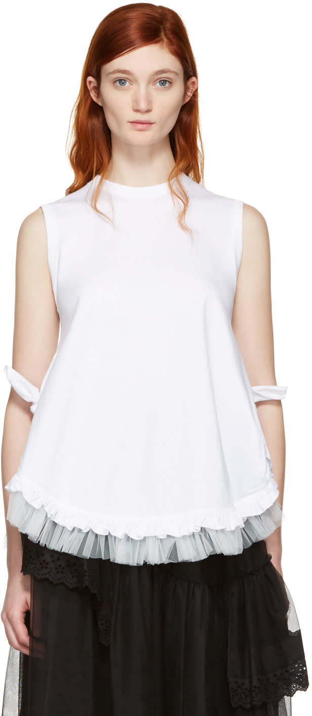 Simone Rocha White Two Knot Frill Tank Top
