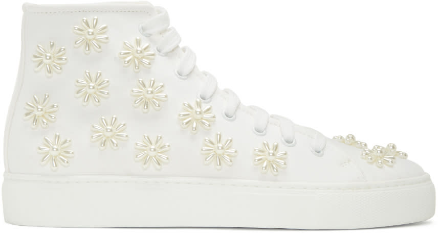 Simone Rocha White Beaded Classic Canvas High-top Sneakers