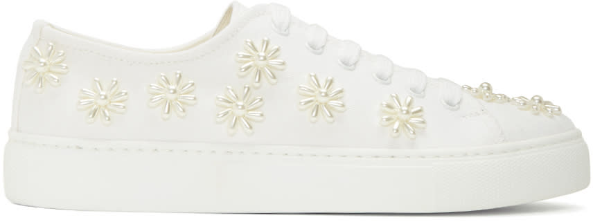 Simone Rocha White Beaded Classic Canvas Sneakers