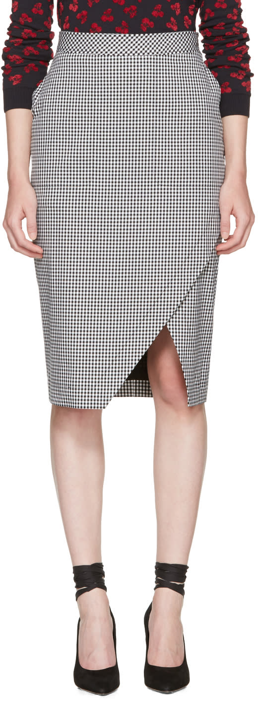 Image of Altuzarra Black and White Gingham Wilcox Skirt