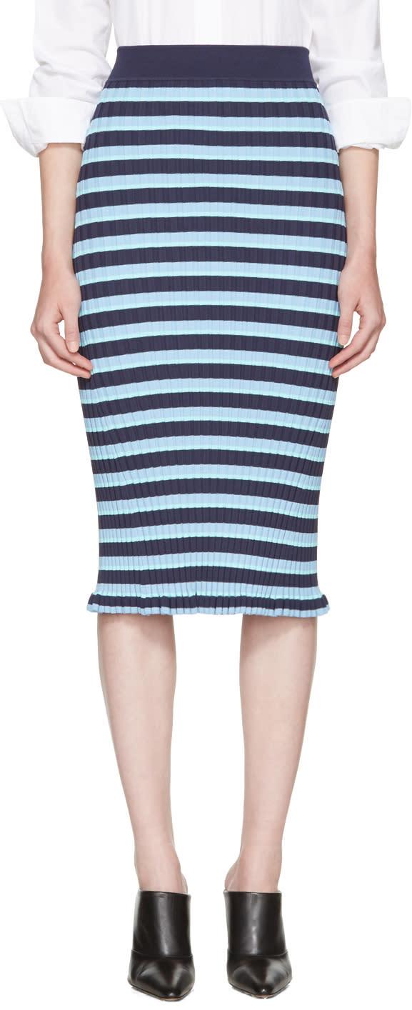 Altuzarra Blue Striped Bloomfield Skirt