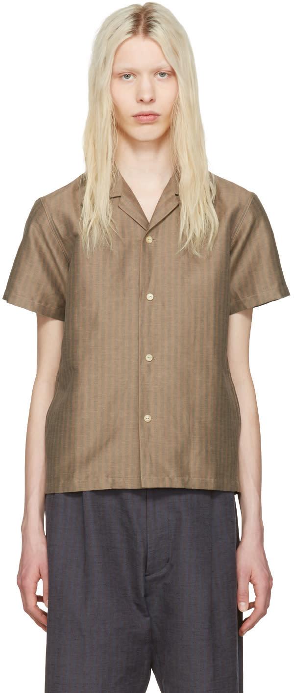 Sasquatchfabrix Beige Striped Open Collar Shirt