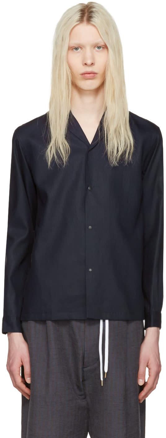 Sasquatchfabrix Navy Notched Collar Shirt