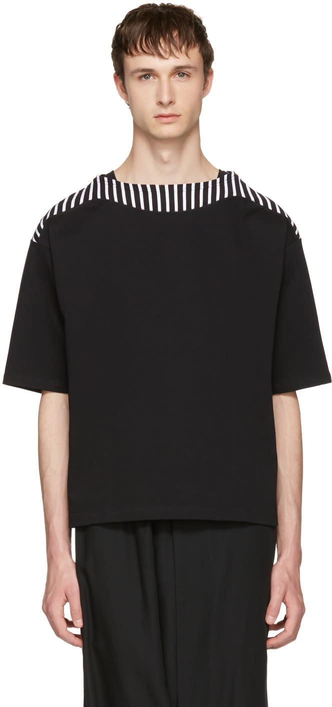 Sasquatchfabrix Black Boatneck Cut Sew T-shirt