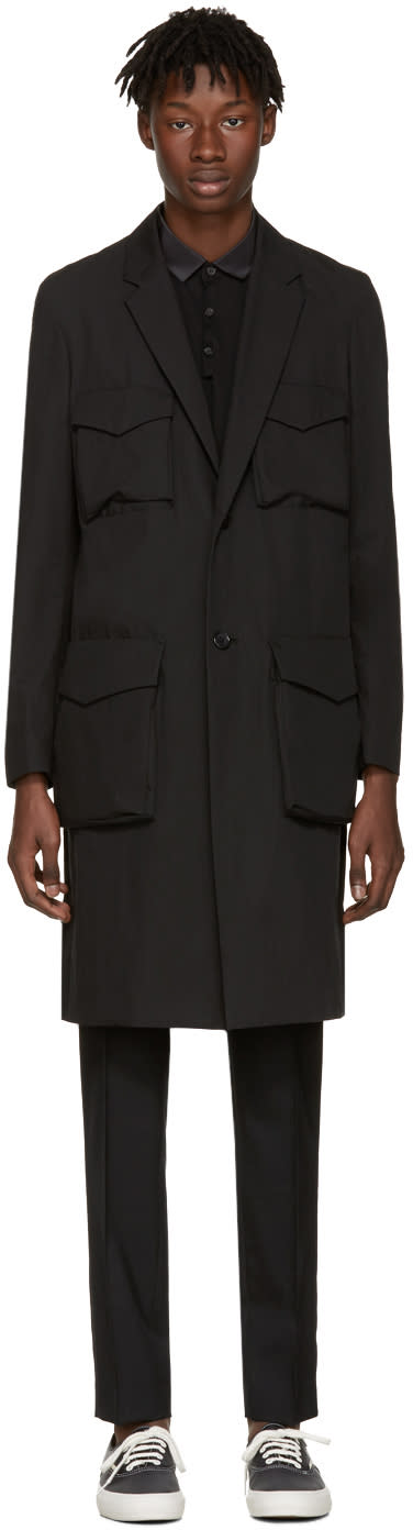 Undercover Black Long Cargo Pockets Trench Coat