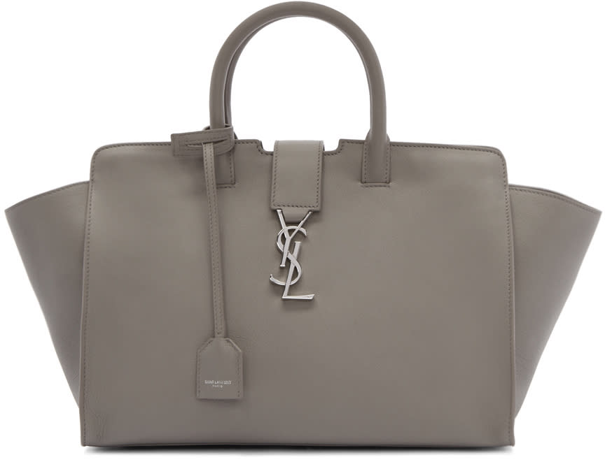 Saint Laurent Grey Small Cabas Monogram Bag