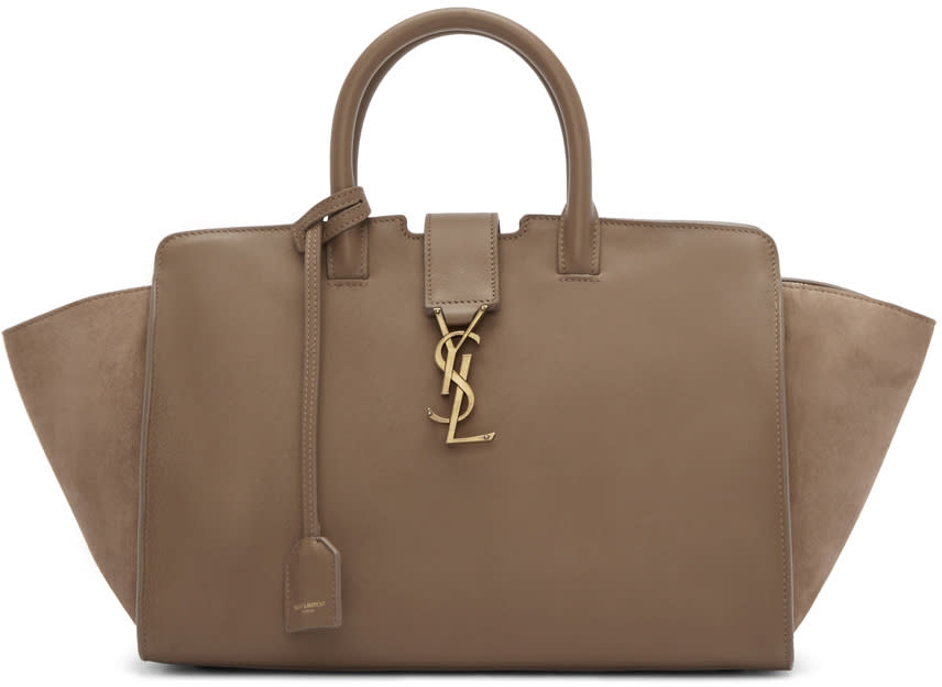 Saint Laurent Taupe Small Cabas Monogram Bag