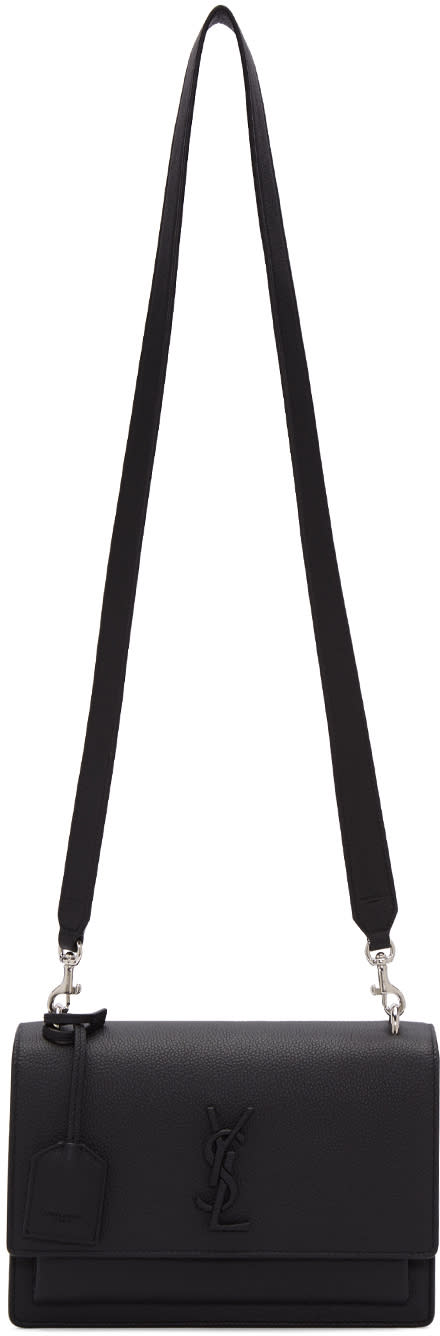 saint laurent female saint laurent black leather medium monogram sunset satchel