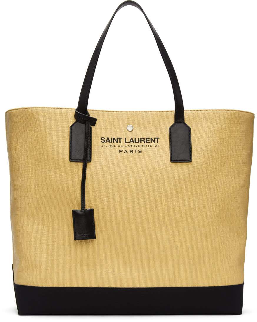 Saint Laurent Beige Large Beach Tote