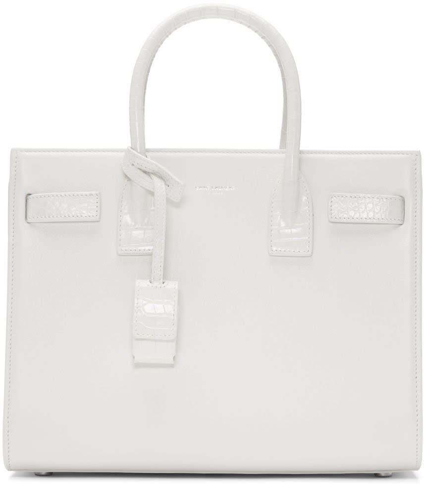 Saint Laurent White Croc-embossed Baby Sac De Jour Tote