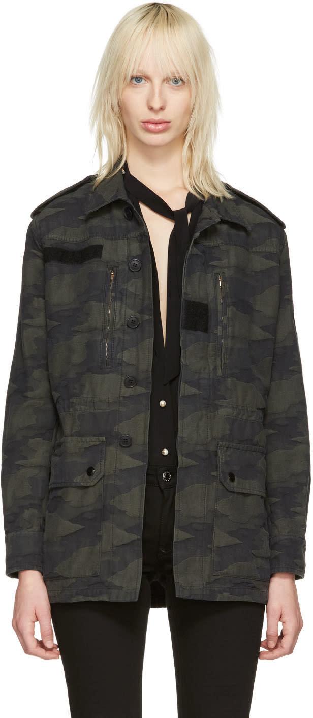 Saint Laurent Green Camo Military Jacket