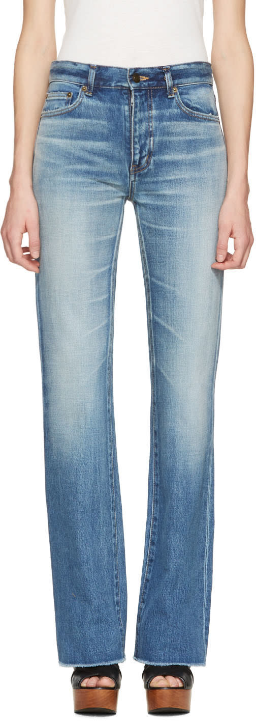 Saint Laurent Blue Cropped Flared Jeans