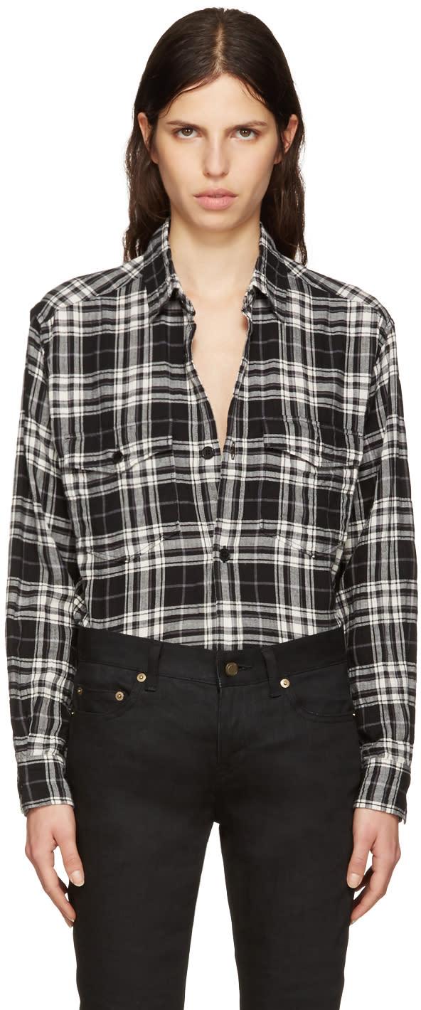 Saint Laurent Black Tartan Check Oversized Shirt