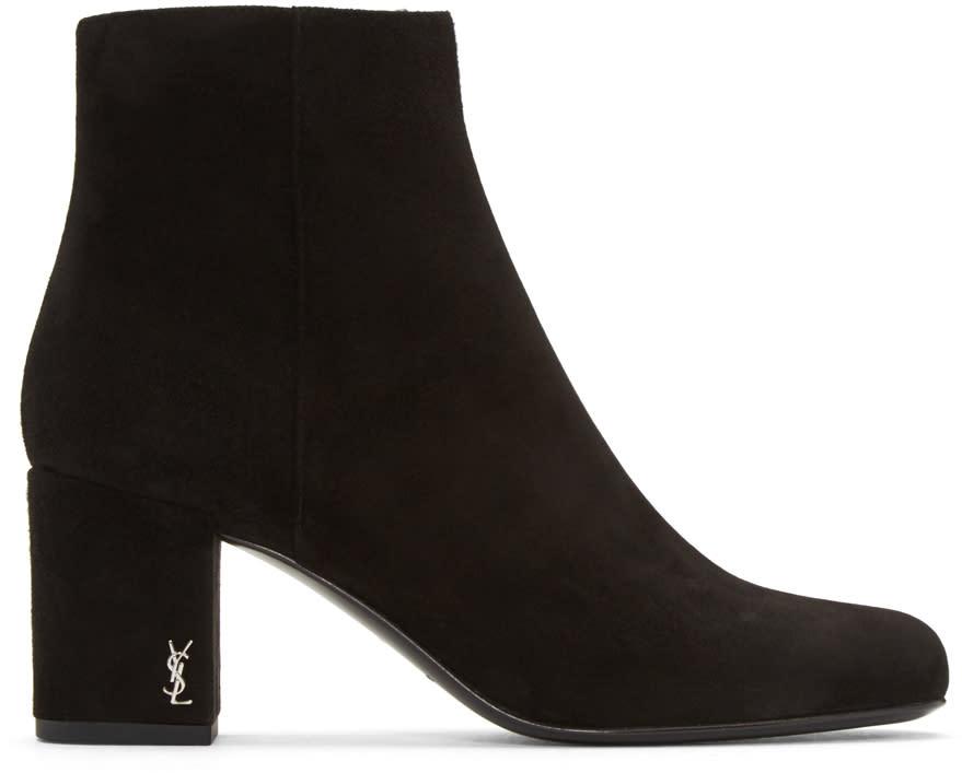 Saint Laurent Black Suede Babies Boots