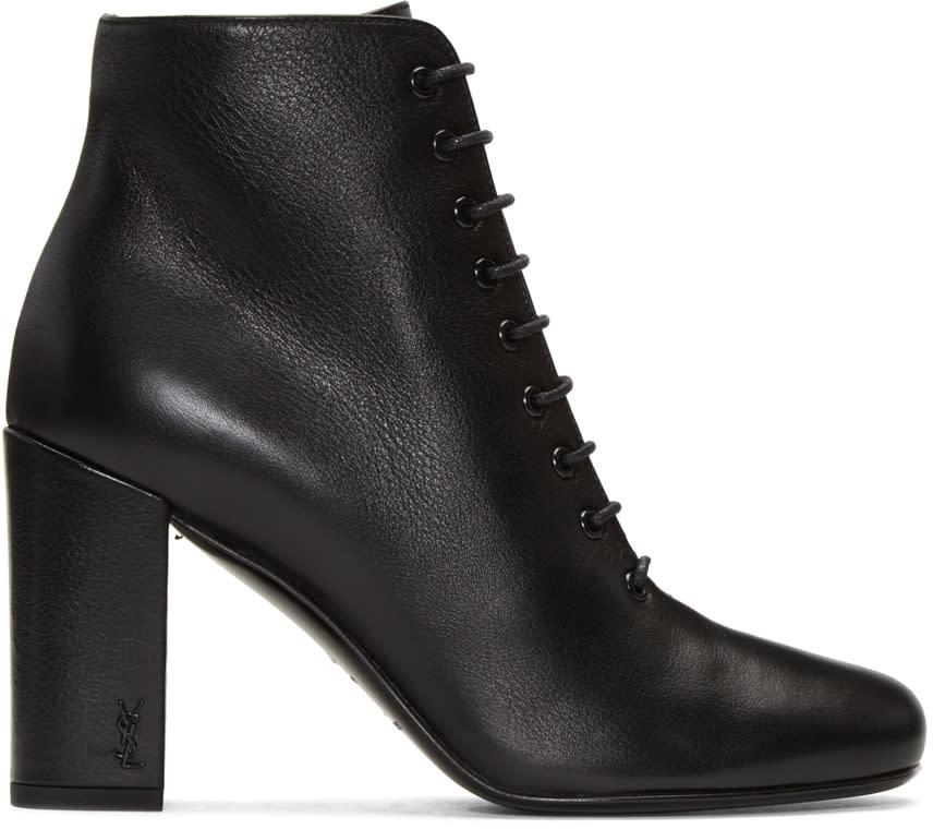 Saint Laurent Black Lace-up Babies Boots