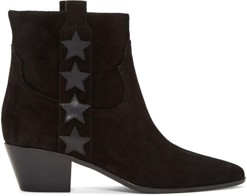 Saint Laurent Black Suede Rock Boots