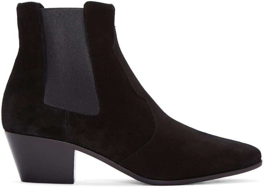 Saint Laurent Black Suede Rock Western Boots